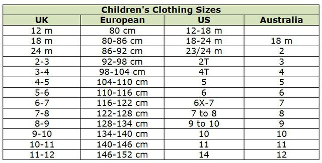 Children Clothing Chart