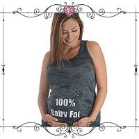 100% Baby Fat Washed-Out Maternity Tank