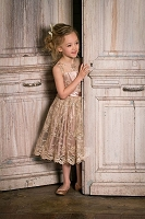 The Audrey Dress Luxe-Taupe From Little Wardrobe London