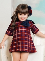 Big bow plaid dress