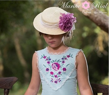 Purple Florals Natural Straw Hat