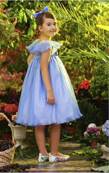 LOVE MADE LOVE Blue Pleated dress